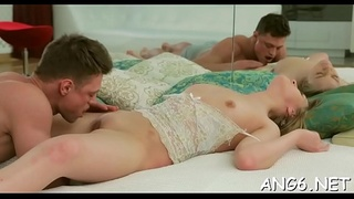 Licking beautys natural boobs makes dude so horny with needs
