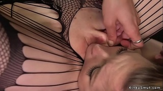 Long black strap on cock up blondes ass