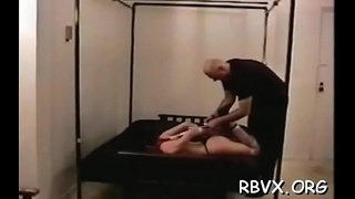 Bondage loving slut relishes when her chap thongs her tight