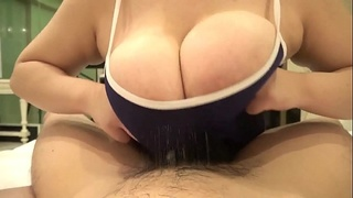 Titfucking huge JAV tits through hole in swimsuit and leaving sticky mess