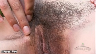Aislynn swings her hairy pussy open for you