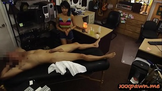 Asian gives massage to pawn dude before getting pounded