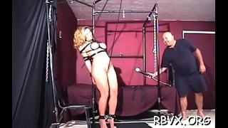 Hawt slut gets bounded and manhandled by a large chap