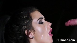 Kinky idol gets jizz shot on her face gulping all the cream