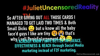 #JulietUncensoredRealityTV Season 1A Episode 17: PENETRATION at 7:45 Fucking the Parisian 21 YO'_s Small Penis (THE BROTHER) for the First Time