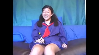 Asian schoolgirl rides big dick