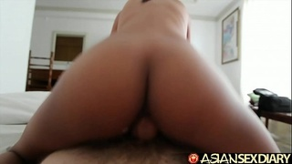 Asian Sex Diary - Petite young Filipina filled with BWC