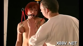 Mature stands with her large boobs stranded during hot xxx sadomasochism