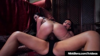 Brunette Babe Nikki Benz Cock Fucks Asian London Keyes!