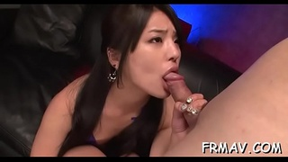 Pretty oriental receives lusty pussy toying while engulfing cock