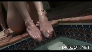 Sexy sweetheart gets her feet licked and walks all over her lover
