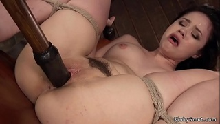 Hogtied Asian tormented and toyed