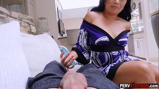 Asian mature stepmom takes a care about her sad stepson