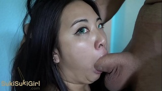 WMAF asian doll gets THROATFUCK and CREAMPIE @sukisukigirl green eyes POV
