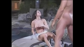 Lots of hard poolside anal for this slutty young blindfolded milf Ariana Jollee