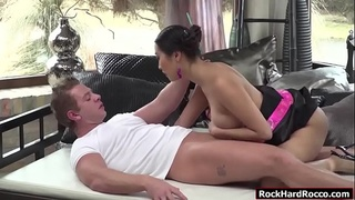 Busty asian geisha massage Chads big cock and gets analed
