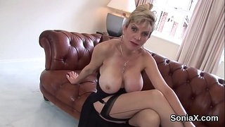 Unfaithful british milf lady sonia presents her massive globes