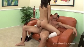 Skinny Asian girl struggles and groans on big cock