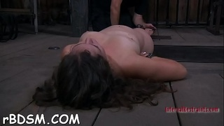 Gagged and fastened up hotty gets her clits pleasured