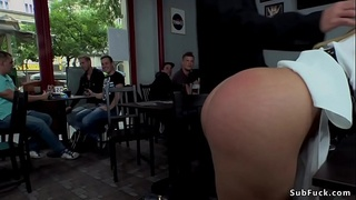 Blonde caned in public park and bar