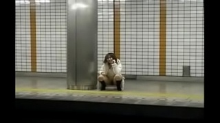 Japanese girl groped in a train with no panties