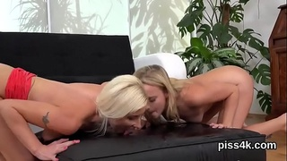 Kissable lezzie cuties get sprayed with pee and blast wet kitties