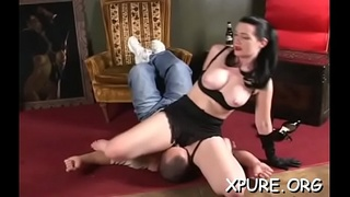 Great ass worship scenery with breasty honey dominating her man