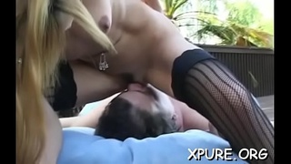Pair of hotties tie a lad up and dominate him all over