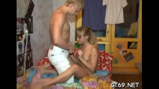High level of excitement makes our horny honey widen her legs