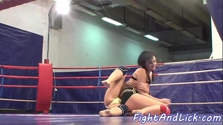 Asian dyke dominated over during wrestling