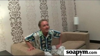 Masseuse strokes a HUGE cock and tastes the Cum 16