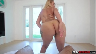 Busty MILF stepmom gave a warm present to young stepson