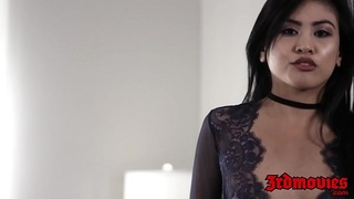 Amazing Asian babe Ember Snow railed by huge cock