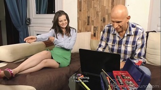 Old Goes Young - Well-hung stud cums all over a petite brunette