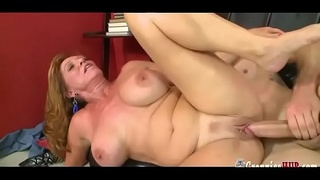 Horny Granny With Lovely Boobs Gets Creampied By Huge Young Cock