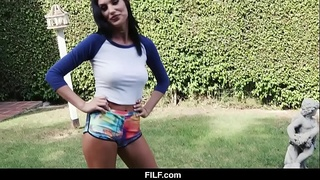 FILF - STEPSISTER AUGUST AMES GIVES AGGRESSIVE BLOWJOB TO STEPBROTHER