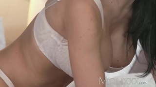 MOM Beautiful Milf with massive fake boobs gets fucked hard before creampie