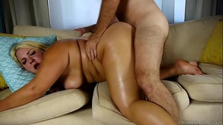 Busty blonde BBW beauty is such a hot fuck & loves the taste of cum