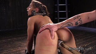 Bound in doggy style babe pussy banged