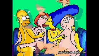Griffins and Simpsons hentai gangbang