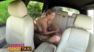 Female Fake Taxi Busty sexy driver milks studs cock