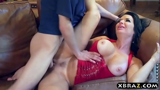 Neighborhood MILF squirts all over young guys big dick