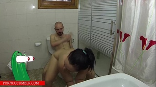 Showering with her sister and fucks in toilet