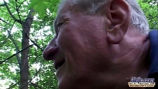 Stout huge titted slut fucking grandpa near a forest