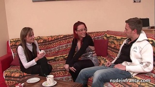 FFM Pretty amateur french milf hard anal penetration for her casting couch