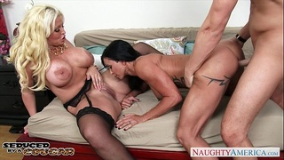 Chesty cougars Alura Jenson and Jewels Jade sharing a big cock