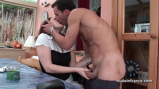 Sublime french redhead slut in with lingerie deep sodomized on the floor