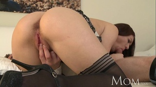 MOM Horny MILF is so grateful to finally have a man in her bed