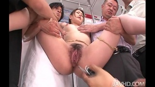 A group of horny subway passengers take control of China Mimuras pussy