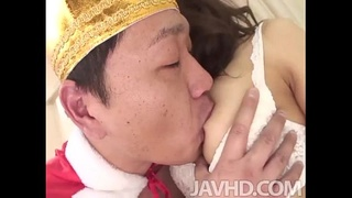 Aiuchi role plays with a horny guy that thinks he is the king of her apartment